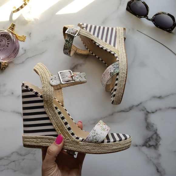 d0b1061b9eb NICOLE MILLER ARTELIER Elba stripe wedge sandal